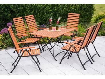 MERXX Gartenmöbelset , 7tlg., 6 Sessel, Tisch 120x80cm, klappbar, Eukalyptus, braun, braun, braun/schwarz