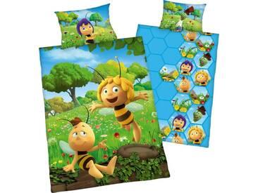 Die Biene Maja Kinderbettwäsche »Biene Maja«, mit Willi, grün, 1x 100x135 cm, Renforcé, gelb-grün