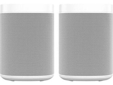 Sonos One Stereo Smart Speaker (mit integrierter Sprachsteuerung, 2-er Set), weiß, weiß