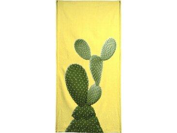 Juniqe Handtuch »Print 87«, Weiche Frottee-Veloursqualität, weiß, Frotteevelours, grün-gelb