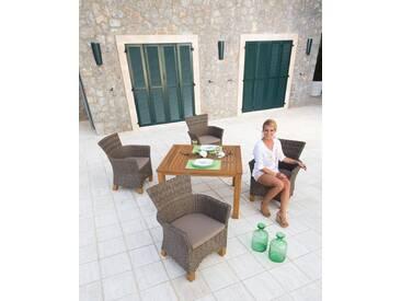 MERXX Gartenmöbelset »Toskana«, 9-tlg., 4 Sessel, Tisch 110x100 cm, Polyrattan/Akazie, braun, hellbraun