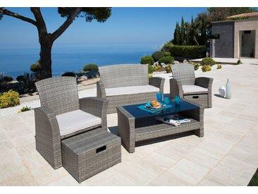 KONIFERA Loungeset »Salerno Premium«, 9-tlg., 2er-Sofa, 2 Sessel, Fußhocker, Tisch, Polyrattan, grau, grau