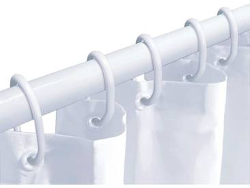 Kleine Wolke KLEINE WOLKE Komplett-Set: Duschvorhang »Dusch-Set«, weiß, inkl. Teleskopstange und Ringen, weiß, weiß