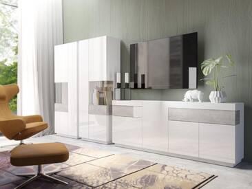 TRENDMANUFAKTUR Wohnwand »SILKE«, (Set, 3-tlg), weiß, weiß Hochglanz/Beton-Optik