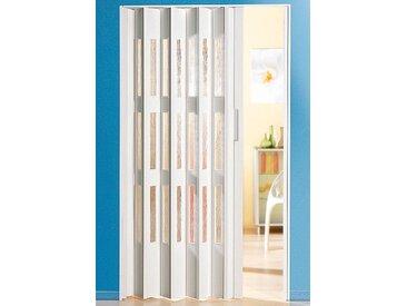 Kunststoff-Falttür , Höhe nach Maß, weiß mit Fenstern in Riffelstruktur, weiß, 88.5 cm, weiß