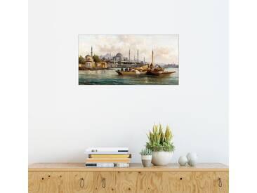 Posterlounge Wandbild - Anton Schoth »Handelsschiffe vor der Hagia Sophia, Istanbul«, natur, Holzbild, 160 x 80 cm, naturfarben