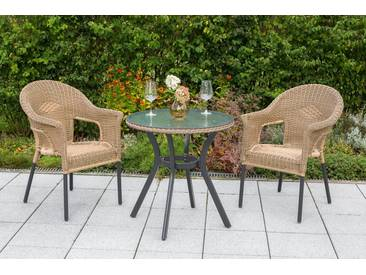 MERXX Gartenmöbelset »Ravenna«, 3tlg., 2 Sessel, Tisch, stapelbar, Polyrattan, natur, natur, natur