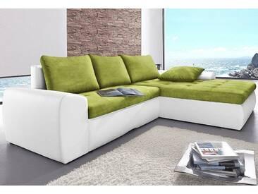 sit&more Ecksofa, XL, weiß, 264 cm, Recamiere rechts, altweiß/kiwi