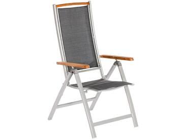MERXX Gartenstuhl »Siena«, Alu/Textil/Akazie, verstellbar, grau, 1 Stuhl, anthrazit