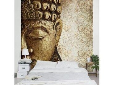 Bilderwelten Vliestapete Premium Quadrat »Vintage Buddha«, natur, 240x240 cm, Naturfarben