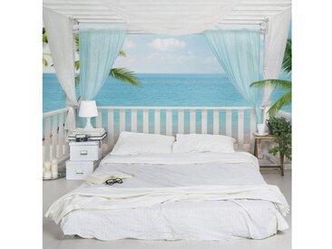 Bilderwelten Vliestapete Premium - Floral Heart - Fototapete Breit »Holiday in Paradise«, blau, 290x432 cm, Blau