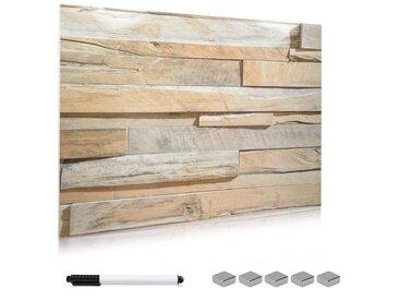 Navaris Magnettafel, Memoboard aus Glas - 90x60 cm Magnetwand zum Beschriften - Magnetische Tafel inkl. Magnete Stift Halterung - Stone Wall Design
