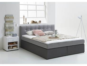ATLANTIC home collection Boxspringbett inkl. Topper, Atlantic Home Collection, grau, hellgrau-anthrazit