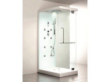 HOME DELUXE Dampfdusche »Design M«, BxT: 80 x 120 cm, mit Radio und Dampfsauna, weiß, ohne Antikalk-Versiegelung