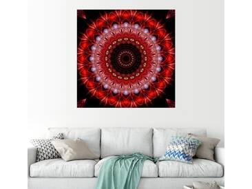 Posterlounge Wandbild - Christine Bässler »Mandala Lebenslust«, rot, Holzbild, 30 x 30 cm, rot