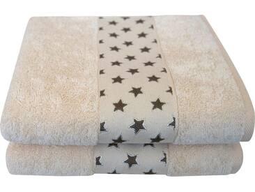 Dyckhoff Handtücher »Sternchen«, mit niedlicher Sternchenbordüre, natur, Walkfrottee, natur-beige