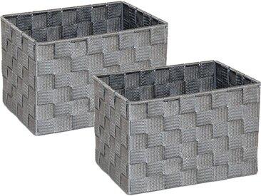 Franz Müller Flechtwaren Aufbewahrungsbox (Set, 2 Stück), Gr. 23 x 18 cm, grau, grau
