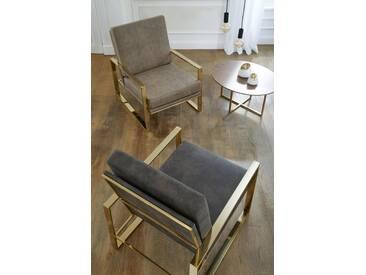 Guido Maria Kretschmer Home&Living GMK Home & Living Sessel »Melnwai«, mit elegantem, vergoldetem Metallgestell und einem Microfaser Lederoptik Bezug
