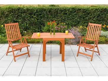MERXX Gartenmöbelset »Vitoria«, 3tlg., 2 Sessel, Tisch, klappbar, ausziehbar, Eukalyptus, natur, natur