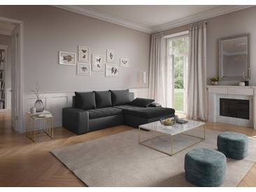 sit&more Ecksofa, schwarz, 259 cm, Recamiere rechts, schwarz/schwarz