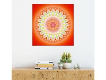 Posterlounge Wandbild - Christine Bässler »Mandala Gesundheit mit Blume des Lebens«, orange, Acrylglas, 120 x 120 cm, orange