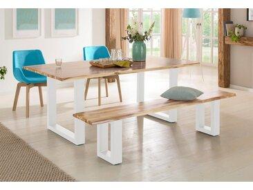 Home affaire Sitzbank »Melody« aus massivem Akazienholz mit einer naturbelassenen Baumkanten-Sitzplatte, natur, 180/38/45 cm, Füße: weiß, akazie natur