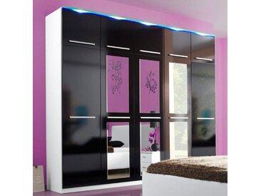 Kleiderschrank, 2- bis 5-türig, schwarz, mit LED-Beleuchtung, Breite 231 cm, weiß/schwarz Hochglanz