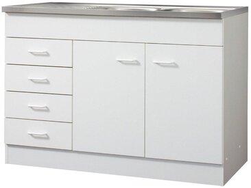 HELD MÖBEL Spülenschrank, 2 Türen, 4 Schubkästen, B/T/H: 120/60/85 cm, weiß, weiß