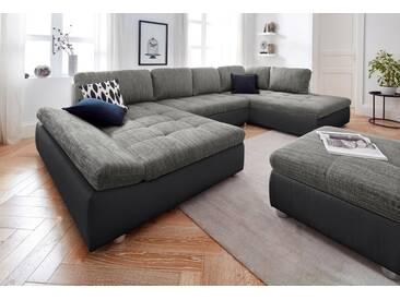 sit&more Wohnlandschaft »Fabona«, Bettkasten und Armteilfunktion, schwarz, 325 cm, Recamiere beidseitig montierbar, schwarz/grau