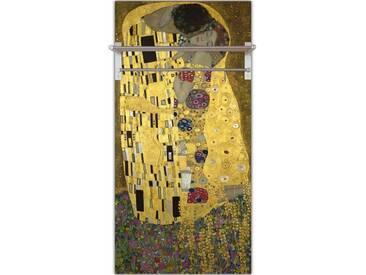 Artland Wandgarderobe »Gustav Klimt: Der Kuß«, gelb, 120 x 60 x 2,8 cm, Gelb