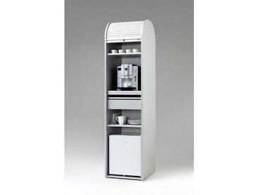 MS-Schuon Rolladenschrank Kaffeeschrank optional mit Kühlschrank »KLENK COLLECTION«, silberfarben, ohne Kühlschrank, silber / schwarz