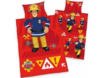 Feuerwehrmann Sam Kinderbettwäsche »Feuerwehrmann«, mit Motiv, rot, 1x 100x135 cm, Renforcé, rot