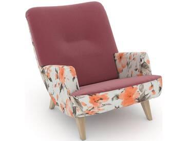 Max Winzer® build-a-chair Loungesessel »Borano« im Retrolook, zum Selbstgestalten, rosa, Korpus: Microvelours Blüte lachs, Samtvelours rosé