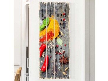 Bilderwelten Wandgarderobe Holz »Top Garderoben Küche in Palettenoptik«, bunt, Motiv: Löffel mit Gewürzen, Haken schwarz, Farbig