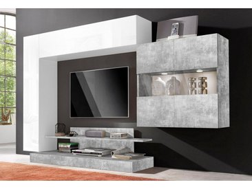 LC Wohnwand »Nice«, (Set, 4-tlg), grau, Weiß Lack-Beton-Optik