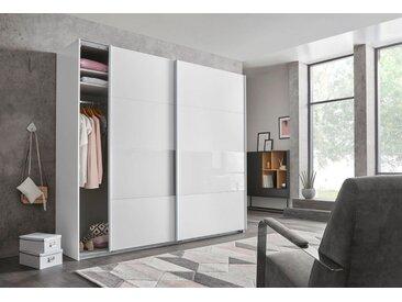 Wimex Schwebetürenschrank »Bramfeld« mit Glaselementen und zusätzlichen Einlegeböden, weiß, Höhe: 208 cm, Breite: 270 cm, weiß/Absetzung Weißglas