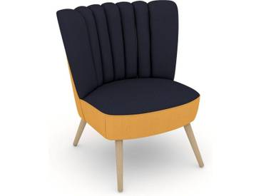 Max Winzer® build-a-chair Stuhlsessel »Aspen« im Retrolook, zum Selbstgestalten, blau, Korpus: Flachgewebe 16452 gelb, Flachgewebe 16452 dkl.blau