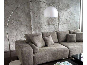 DELIFE Stehlampe Big-Deal Silber höhenverstellbar Bogenleuchte, weiß, 180x40 cm, Material: Metall, Kunststoff, Marmor, Weiß