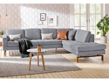 andas Ecksofa »Taranto«, elegantes Design, edles Fußgestell aus Holz, grau, 290 cm, Ottomane rechts, hellgrau