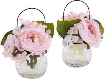 Home affaire Kunstblume »Rosen im Glas« (2er Set), rosa, rosa