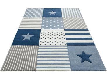 Lüttenhütt Teppich »Stern«, rechteckig, Höhe 13 mm, Handgearbeiteter Konturenschnitt, blau, 13 mm, blau
