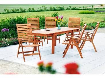 MERXX Diningset »La Plata«, 7-tlg., 6 Sessel, 1 Tisch 150(185/220)x90 cm, Eukalyptusholz, braun, rotbraun