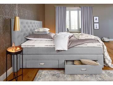 Guido Maria Kretschmer Home&Living GMK Home & Living Boxspringbett »Aivi«, mit Schubkästen, grau, mit Aufbauservice, Bonnell-Federkernmatratze H2