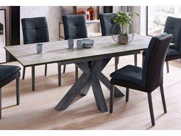 Esstisch, Breite 160 cm mit Auszugsfunktion, schwarz, Einlegeplatten, schwarzstahl-keramik hell