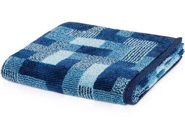 Möve Handtuch »Modernism Rechteck«, mit samtig glänzender Oberfläche, blau, darkblue