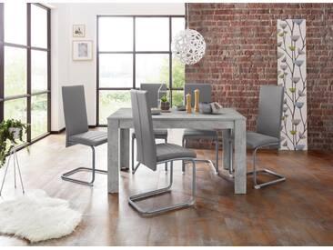 Steinhoff Essgruppe »Nitro«, Tisch - Breite 140 cm + 6 Stühle, grau, Beton-Optik/grau