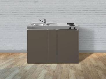 Stengel Metall-Miniküche Kitchenline MK 120, Kühlschrank, Elektro-Kochfeld, Spülbecken, Breite 120 cm, braun