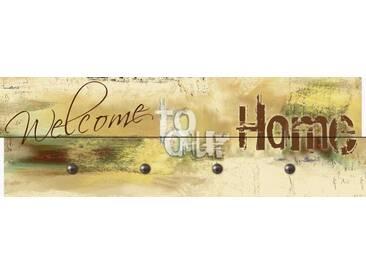 Artland Wandgarderobe »W. L.: Willkommen in unserem Zuhause«, gelb, 30 x 90 x 2,8 cm, Gelb