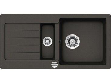 Schock SCHOCK Granitspüle »Family«, mit Restebecken, 86 x 43,5 cm, schwarz, mit Restebecken, Asphalt