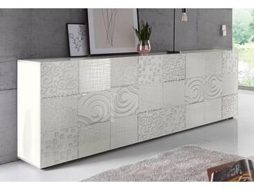 LC »Miro« Sideboard, Breite 241 cm mit dekorativem Siebdruck, weiß, Weiß Hochglanz Lack mit Siebdruck